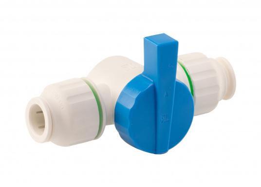 Absperrventil fürs Connect Rohrleitungssystem. Besonders zuverlässiges Rohrleitungssystem, speziell geeignet für den Einsatz an Bord! Schnelle Installation: Dank vorgegebener Schnittmarken ist ein Ablängen der Rohre ganz einfach möglich.