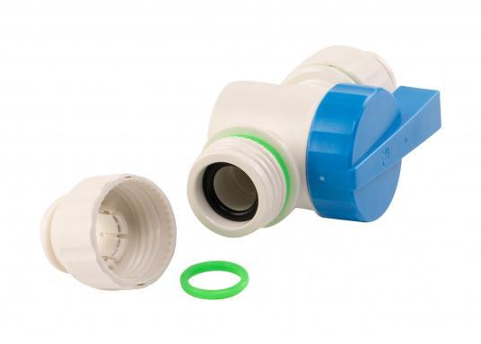 Absperrventil fürs Connect Rohrleitungssystem. Besonders zuverlässiges Rohrleitungssystem, speziell geeignet für den Einsatz an Bord! Schnelle Installation: Dank vorgegebener Schnittmarken ist ein Ablängen der Rohre ganz einfach möglich.  (Bild 3 von 6)