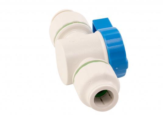Absperrventil fürs Connect Rohrleitungssystem. Besonders zuverlässiges Rohrleitungssystem, speziell geeignet für den Einsatz an Bord! Schnelle Installation: Dank vorgegebener Schnittmarken ist ein Ablängen der Rohre ganz einfach möglich.  (Bild 5 von 6)