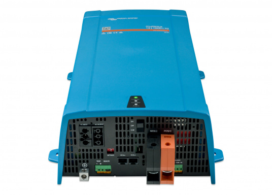 Dieses Gerät vereint einen leistungsfähigen Sinus-Wechselrichter, einen modernen Batterielader, der die 4-stufige, von VICTRON entwickelte adaptive Ladetechnologie nutzt und einen flinken Wechselspannungsquellen-Transferschalter in einem kompakten Gehäuse. Zusätzlich zeichnet sich das Gerät durch seine bewährte Zuverlässigkeit aus, es ist kurzschlusssicher und vor Überhitzung geschützt. (Bild 4 von 5)