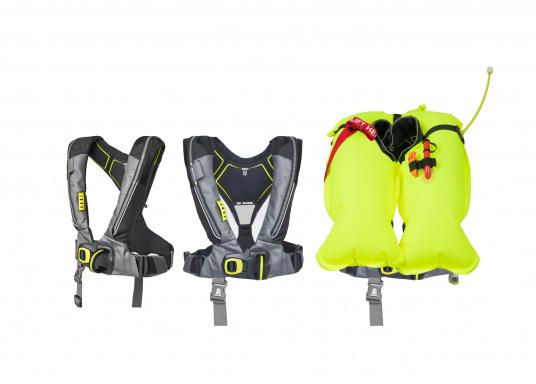 Die Automatik-Rettungsweste 6D von Spinlock kombiniert Komfort mit Funktionalität und ist optimal für den Langzeitgebrauch geeignet.Voll ausgestattet mit LED-Blitzlicht, Sprayhood, Schrittgurt, Signalflöte sowie D-Ring. Des Weiteren wird die Beweglichkeit dank der kompakten Beschaffenheit nicht eingeschränkt.Für Frauen und Männer ab 40 kg geeignet. Auftrieb: 170 N. (Bild 7 von 7)