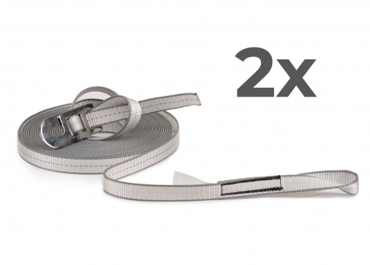 Jackstay made of sturdy, abrasion-resistant polyester webbing with a width of 25mm and length 12m. Secure yourself to the jackstay with a lifeline and move safely and freely on board. Also ideal for securing children. Delivery includes: Two jackstays with length 12m.