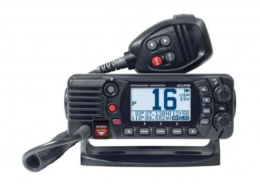 Compact VHF marine radio with Class D DSC, large display, integrated GPS antenna and NMEA 0183 interface for quick integration into an existing network. The GX1400G offers reliable performance and easy operation. (Image 2 of 7)
