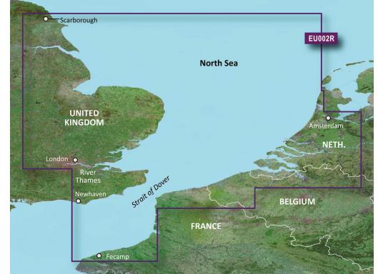 Fahrtgebiet BlueChart g3 EU002R: England Süd-Ost, Belux bis Amsterdam