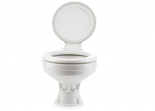 Faciles à utiliser, ces WC marins disposent d'un système d'évacuation breveté. Cuvette en porcelaine, lunette et battant en plastique. Deux modèles sont disponibles.