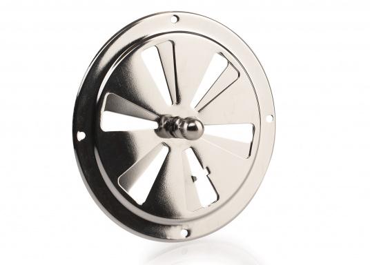 Korrosionsbeständige Lüftungsrosette aus Edelstahl mit einem Durchmesser von 125 mm.
