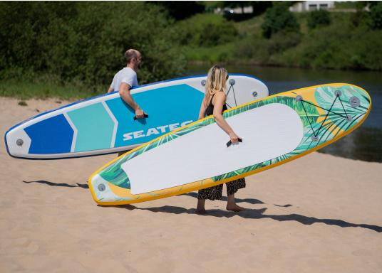 Top model in the middle range featuring an exclusive design. The iSUP JUNGLE from SEATEC is great fun for young and old, beginners and advanced users. Length: 3.3 m, width: 75 cm. Load capacity: approx. 140 kg. (Afbeelding 4 of 11)