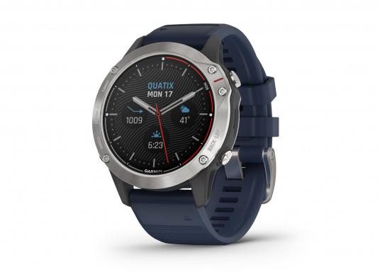 Die Garmin quatix 6 setzt neue Maßstäbe für GPS Marine Smartwatch Uhren. Die Unterstützung von BlueChart g3 Seekarten, sowie Datenstreaming von Ihrem kompatiblen Garmin Seekartenplotter, bishin zur Autopilotsteuerung sind nur einige der Features. Bewährte Funktionen der Garmin Fenix-6 Smartwatch wurden um spezielle Marine Anwendungen ergänzt.