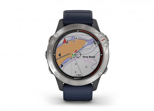 Die Garmin quatix 6 setzt neue Maßstäbe für GPS Marine Smartwatch Uhren. Die Unterstützung von BlueChart g3 Seekarten, sowie Datenstreaming von Ihrem kompatiblen Garmin Seekartenplotter, bishin zur Autopilotsteuerung sind nur einige der Features. Bewährte Funktionen der Garmin Fenix-6 Smartwatch wurden um spezielle Marine Anwendungen ergänzt. (Bild 4 von 9)
