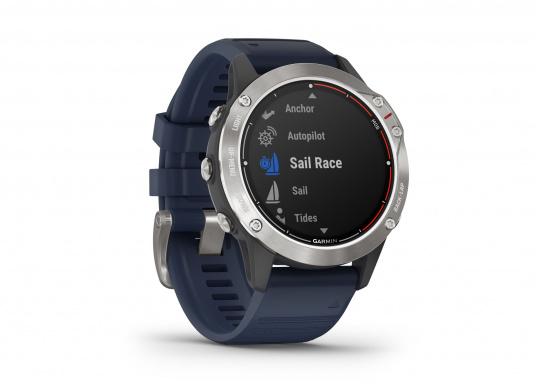Die Garmin quatix 6 setzt neue Maßstäbe für GPS Marine Smartwatch Uhren. Die Unterstützung von BlueChart g3 Seekarten, sowie Datenstreaming von Ihrem kompatiblen Garmin Seekartenplotter, bishin zur Autopilotsteuerung sind nur einige der Features. Bewährte Funktionen der Garmin Fenix-6 Smartwatch wurden um spezielle Marine Anwendungen ergänzt. (Bild 2 von 9)