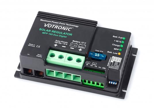 Les régulateurs de charge VOTRONIC pour énergie solaire avec la technologie MPP (Maximum Power Point) sont fabriqués en Allemagne et sont entièrement automatiques. Ils tirent le meilleur parti de vos panneaux solaires et assurent une charge rapide.