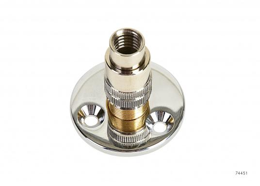 Wasserdichte Decks-Trennstelle für Koaxkabel. Flansch-Ø: 45 mm. Geeignet für 10 mm Kabel-Ø (RG213).