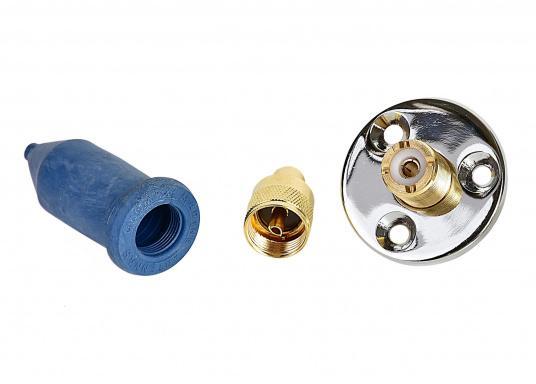 Wasserdichte Decks-Trennstelle für Koaxkabel. Flansch-Ø: 45 mm. Geeignet für 10 mm Kabel-Ø (RG213). (Bild 3 von 3)