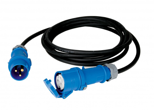 Verlängerungskabelmit CEE-Anschlussdosen und Gummi-Mantel. Beständig gegen Öl, Fette, Benzin, Wasser, UV-Strahlen etc. Belastbarkeit 16 Ampere. Erhältlich in zwei Ausführungen.