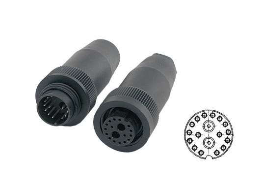 Wasserdichte 16-polige Steckverbindung / Trennstelle für Radaranlagen, geeignet fürFURUNO, JRC und Raymarine LCD-Radaranlagen. Erhältlich als fliegende Verbindung.  (Bild 2 von 3)