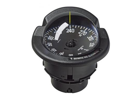 Der Kompass Olympic 135 Open von Plastimo verfügt über einen scheinbaren Kompassrosen-Durchmesser von 130 mm. Geeignet für Segel- und Motorboote über 9 m. Schwarze Kompassrose mit 5° Teilung. Beleuchtet.