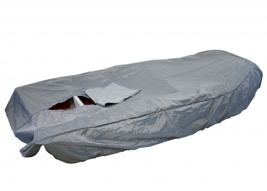 Tarpaulin cover for SEATEC AEROTEND 220 and AEROTEND 240 inflatable boats.The tarpaulin cover is tightened with ropes.