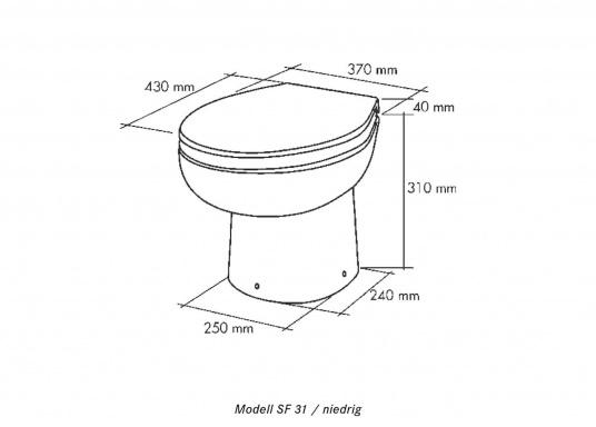 Formschöne Toilette aus Sanitärkeramik mit integrierter Hebe- und Zerhackeranlage. Hervorragend für den Einsatz mit Fäkalientanks.  (Bild 7 von 7)