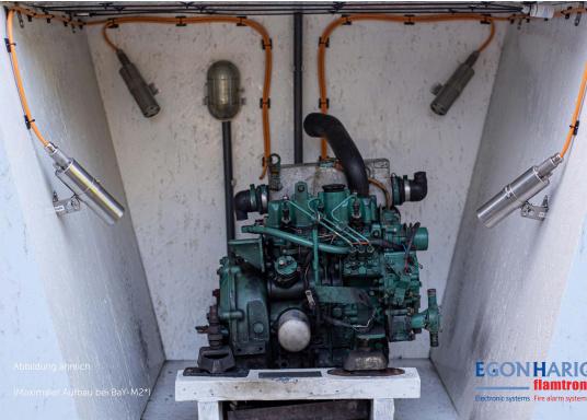 Système d'extinceur très efficace, à déclenchement automatique pour éteindre un départ d'incendie en quelques secondes. Le BOAT AND YACHT M1-2 convient aux espaces jusqu'à un volume de 1,0 m³. (Image 5 de 6)
