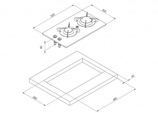 Der 2-flammige Einbaukocher besticht durch sein edles Design mit schwarzer Glaskeramik. Die Brennersind jeweils mit einer Zündsicherung ausgestattet. CE-Zulassung.Anschlussdruck: 30 mbar. (Bild 2 von 2)