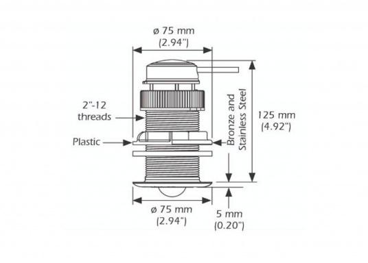 Il trasduttore passante in plastica DST810 determina in modo affidabile e preciso i segnali di profondità, velocità e temperatura nell'acqua. Grazie alla connettività NMEA2000 e Bluetooth, hai diverse opzioni per la visualizzazione dei dati. Un'uscita del segnale a 5 Hz garantisce una riproduzione fluida sul dispositivo di visualizzazione. (Immagine 4 di 8)