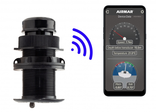 The DST810 plastic thru-hull transducer reliably and precisely measures depth, speed and temperature readings in the water. Thanks to NMEA2000 and Bluetooth connectivity, data can be displayed in a variety of ways. The sensor can also be calibrated quickly and easily via the Bluetooth interface using the Airmar Cast App. A 5 Hz signal output ensures smooth playback on your display device. (Imagen 2 de 8)