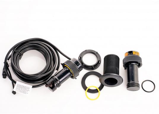 Il trasduttore passante in plastica DST810 determina in modo affidabile e preciso i segnali di profondità, velocità e temperatura nell'acqua. Grazie alla connettività NMEA2000 e Bluetooth, hai diverse opzioni per la visualizzazione dei dati. Un'uscita del segnale a 5 Hz garantisce una riproduzione fluida sul dispositivo di visualizzazione. (Immagine 8 di 8)