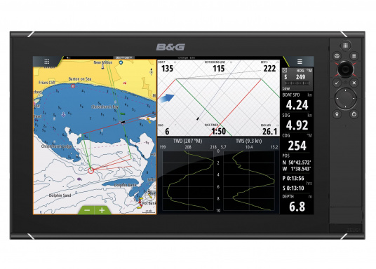 The Zeus³ 16 is an easy-to-use chart plotter navigation system for blue water and regatta sailors with a 16-inch touchscreen display, powerful electronics and a wide range of functions, specially developed for sailors. (Imagen 2 de 9)
