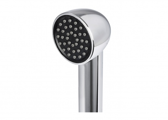 The KEJI deck shower features a large shower head, impresses with its elegant design and is made of high-quality stainless steel (AISI 316). Self-supporting lid. Delivery includes 4.0 m PVC hose. (Image 2 of 5)