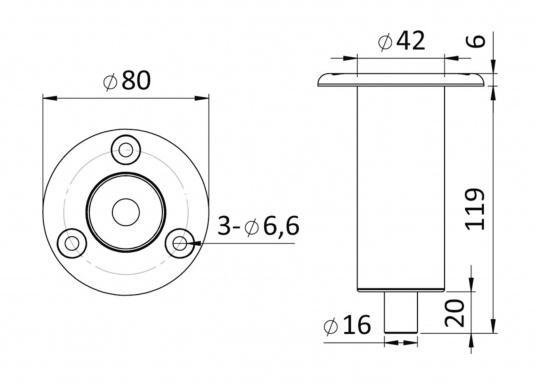 Passender Einbau-Sockel für Duschstangen. Material: Edelstahl V4A. (Bild 2 von 2)