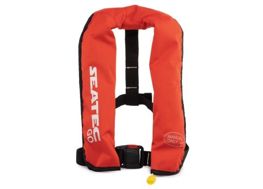 Die neue Rettungsweste GO von Seatec ist mit einem manuellen Auslöser ausgestattet und somit optimal für Wassersportarten, wie z.B. Kanu- oder Kajakfahren geeignet. Farbe: rot.