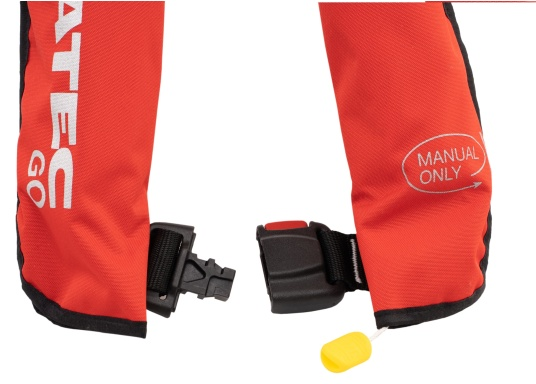 Die neue Rettungsweste GO von Seatec ist mit einem manuellen Auslöser ausgestattet und somit optimal für Wassersportarten, wie z.B. Kanu- oder Kajakfahren geeignet. Farbe: rot. (Bild 4 von 5)