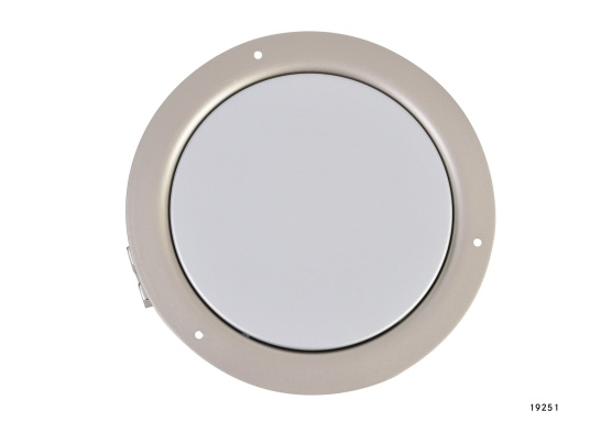 Schickes Barometer in Bullaugen-Optik, gefertigt aus massivem Messing, matt und vernickelt. Weißes Ziffernblatt. (Bild 4 von 4)