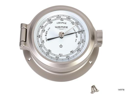 Schickes Barometer in Bullaugen-Optik, gefertigt aus massivem Messing, matt und vernickelt. Weißes Ziffernblatt. (Bild 2 von 4)