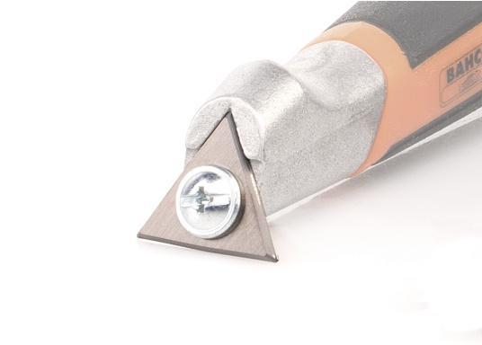 Lama di ricambio larghezza 25 mm di forma triangolare, adatta per raschietto di precisione ERGO 625. La lama può essere utilizzata da tutti e tre i lati. Prezzo per pezzo. (Immagine 2 di 2)