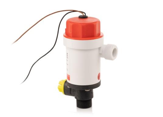 Die kompakte Druckwasserpumpe mit Doppelanschluss erlaubt die Nutzung einer Borddurchführung zur Befüllung eines Wassertanks mit frischem Seewasser (beispielsweise für Fische) und gleichzeitigen Versorgung einer optionalen Deckwaschpumpe.