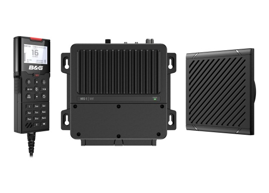 Bleiben Sie überall an Bord in Verbindung! An die UKW-Seefunkanlage V100 von B&G können bis zu acht Handgeräte und vier externe Lautsprecher angeschlossen werden. Das Bedienteil verfügt über eine inuitive Benutzeroberfläche und zeigt die wichtigsten Daten auf einem großen, gut lesbaren Display an. Im Lieferumfang ist ein kabelgebundenes Handgerät und ein Lautsprecher enthalten.