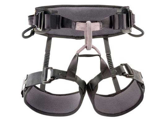 Professional seat harness with semi-rigid and narrow waist belt and leg loops for improved comfort. The adjustable foam padding on the leg loops ensures a perfect fit.