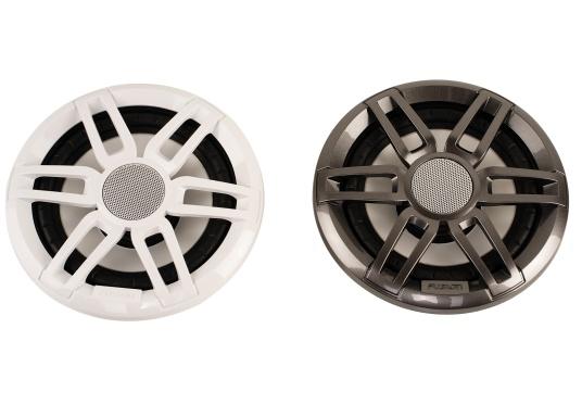 Die leistungsstarken Lautsprecher der XS-Serie überzeugen mit der gewohnten FUSION Qualität und eignen sich hervorragend für die besonderen Anforderungen im Marine Bereich. Mit RGB-LED-Beleuchtung. Erhältlich in verschiedenen Ausführungen. Lieferung erfolgt paarweise. Zusätzlich werden jeweils 2 Gitter in weiß und schwarz mitgeliefert. (Bild 2 von 8)