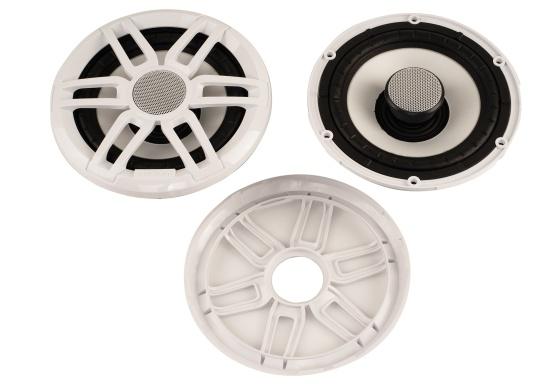 Die leistungsstarken Lautsprecher der XS-Serie überzeugen mit der gewohnten FUSION Qualität und eignen sich hervorragend für die besonderen Anforderungen im Marine Bereich. Mit RGB-LED-Beleuchtung. Erhältlich in verschiedenen Ausführungen. Lieferung erfolgt paarweise. Zusätzlich werden jeweils 2 Gitter in weiß und schwarz mitgeliefert. (Bild 3 von 8)