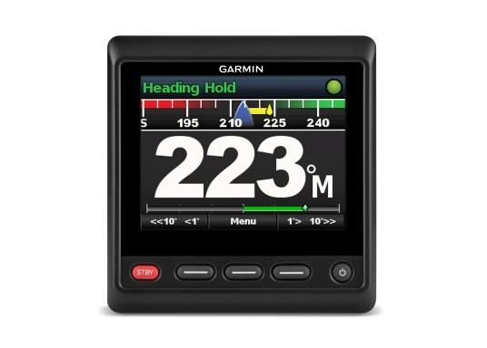 """Das hochwertige Autopilot-Display GHC20 verfügt über ein großes, helles 4"""" Farbdisplay und kann problemlos in neuere sowie ältere Autopilotsysteme von Garmin integriert werden. Dank einem integrierten Regler für die Helligkeit und einem Betrachtungswinkel von 170° wird eine optimale Lesbarkeit auch aus der Entfernung, bei Tageslicht und bei Nacht gewährleistet.Geeignet für Segel- und Motorboote. (Bild 2 von 7)"""