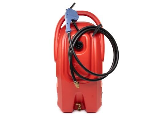 Portabler Kraftstofftank mit Rädern und einer Kapazität von 59 Litern, ideal zum Tanken von Booten, Generatoren und anderen kraftstoffbetriebenen Geräten.