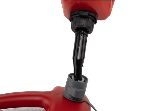 Tanica per carburante ad alto rendimento realizzata in HD-PE di alta qualità. Soddisfa i più elevati standard di sicurezza. Queste taniche di carburante sono approvate per il trasporto di sostanze pericolose e sono adatte anche per carburante di tipo E10. (Immagine 7 di 8)