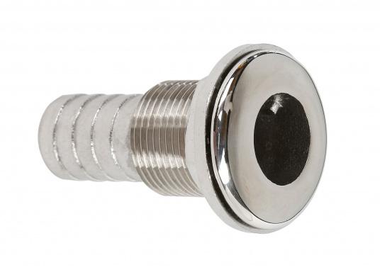 Borddurchführungen mit direktem Schlauchanschluss. Hergestellt aus Edelstahl, rostfrei. Die Schlauchanschluss-Abmessungen geben die lichte Weite des Schlauches an. Ausführung: gerade. Lieferbar in verschiedenen Größen.