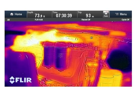 Die thermische Überwachungskamera AX8 überwacht die wichtigsten Geräte auf Ihrem Schiff.Falls die Temperatur von Maschinenteilen über voreingestellte Schwellenwerte steigt, werden unmittelbar akustische und visuelle Warnungen an Ihr Raymarine Multifunktionsdisplay gesendet.HINWEIS!Bei diesen Geräten handelt es sich um vom Hersteller werksüberholte Exemplare (zumeist Ausstellungsstücke) mit voller, zweijähriger Herstellergarantie. Weitere Informationen dazu finden Sie unten in der Produktbeschreibung. (Bild 9 von 15)