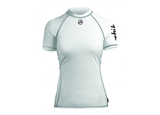 Ce top à manche courte en spandex à la longévité avérée est confortable à porter et assure une protection UV50+. Ce top léger et respirant comporte aussi des coutures collées anti-irritation.