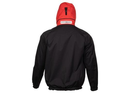 Vista posteriore giacca con cappuccio indossato