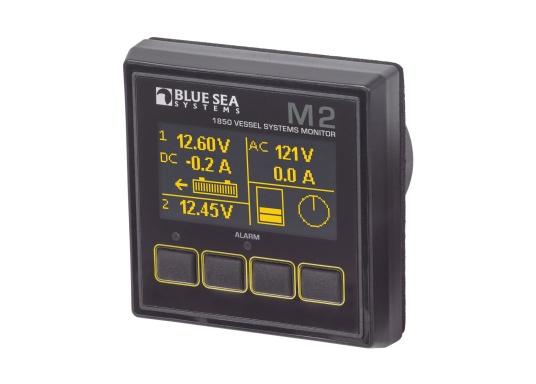 Das M2 VSM Multi-Monitor-System von Bluesea kann an Bord zur Überwachung von Starter- und Verbraucherbatterien eingesetzt werden, sowie zum Erfassen der Wechselspannungsparameter von Generator, Inverter oder Landanschluss. Zudem ist es möglich, mit Hilfe von optionalen Gebern die Tankfüllstände im Auge zu behalten. Eine weitere Funktion des Bluesea M2 Vessel-Systems-Monitor ist die Überwachung der Bilgenpumpe. Für die erfassten Parameter sind umfangreiche Alarmeinstellungen möglich. NMEA2000 Datenausgabe via Micro-C-Buchse an weitere Geräte.