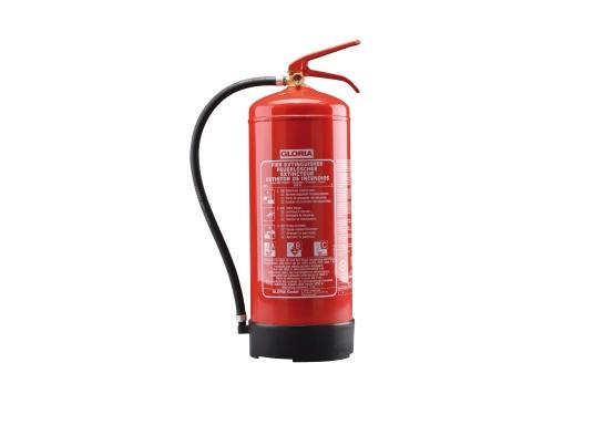 Tragbarer Dauerdruckfeuerlöscher mit praktischer Handhebel Armatur. Zugelassen nach DIN EN 3 für die Brandklassen A, B und C. Ausgestattet mit einem Manometer.