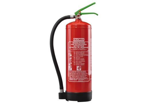 Tragbarer Bio-Schaum-Feuerlöscher, ausgetattet mit einem Manometer für eine optische Druckkontrolle. Zugelassen nach DIN EN 3 für die Brandklassen A und B. Mit MED Zulassung.